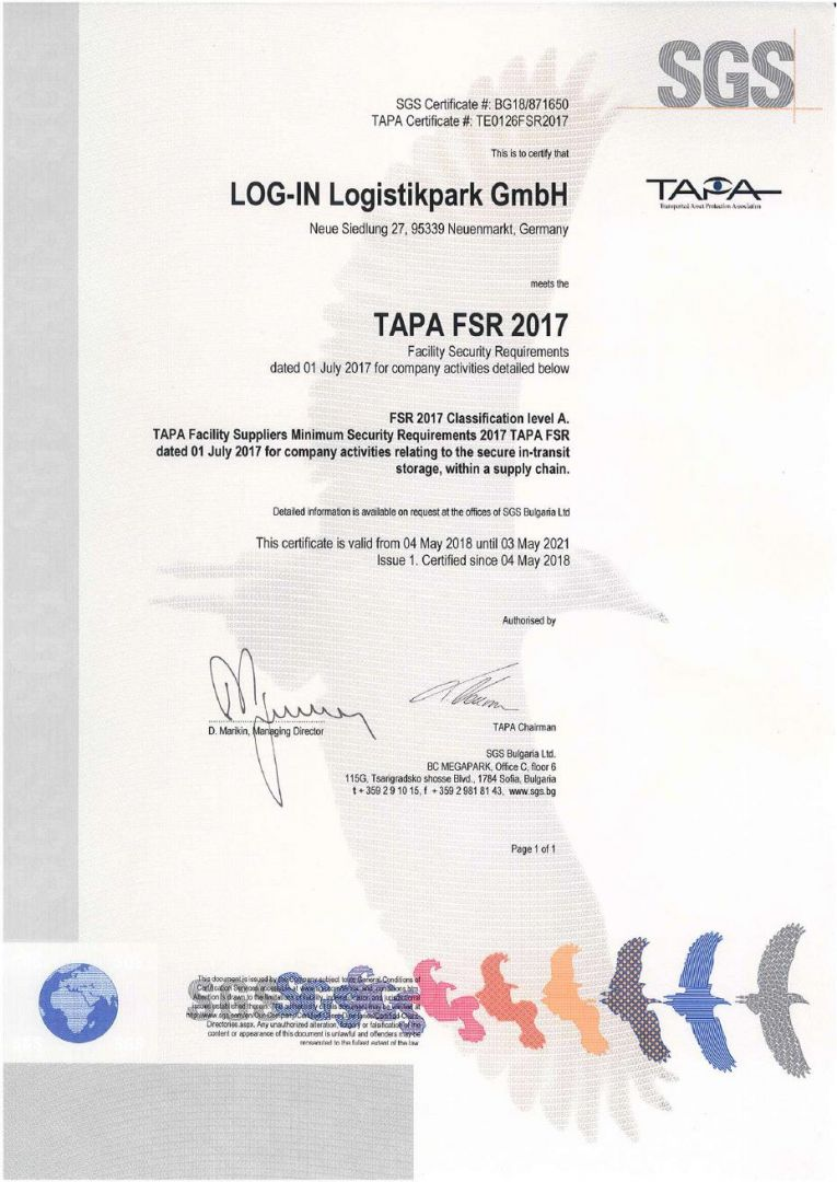 TAPA FSR 2017 Certificate LOG-IN Logistikpark GmbH