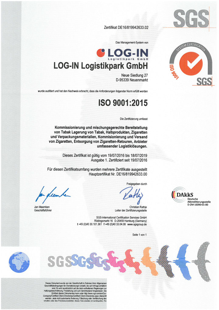 SGS ISO 9001:2015 de LOG-IN Logistikpark GmbH