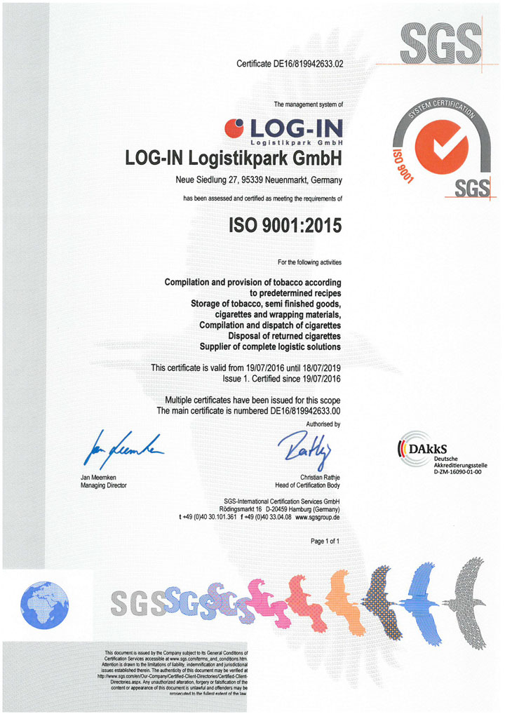 SGS ISO 9001:2015 en LOG-IN Logistikpark GmbH